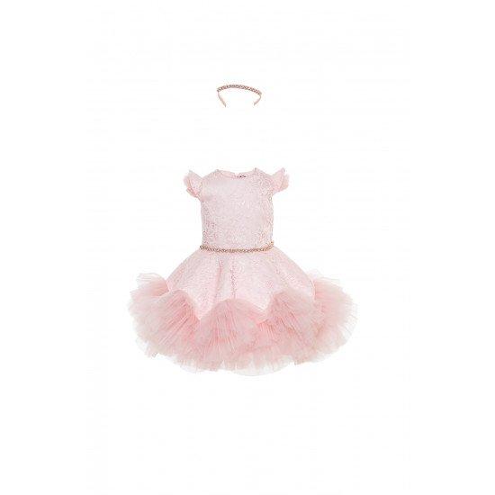 Детска рокля от дантела в розово