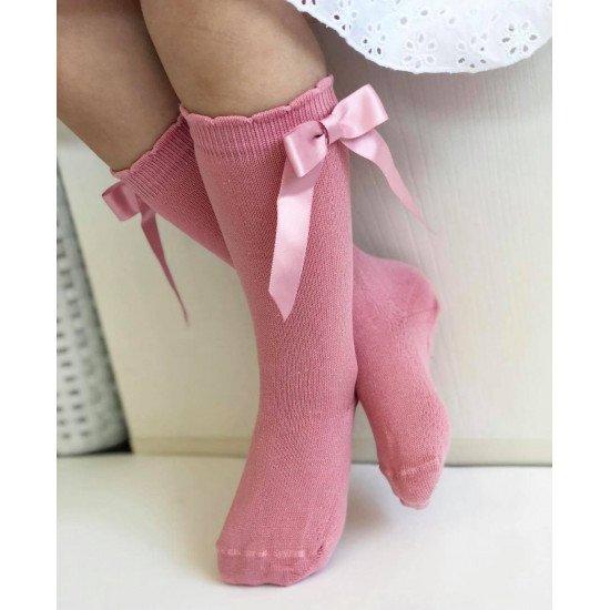 Детски чорапи до коляно в  цвят пудра