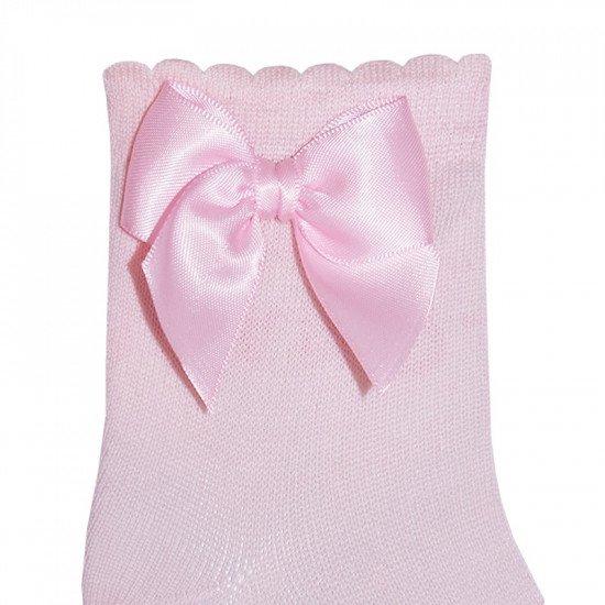 Детски къси чорапи с панделка в розово за момиче