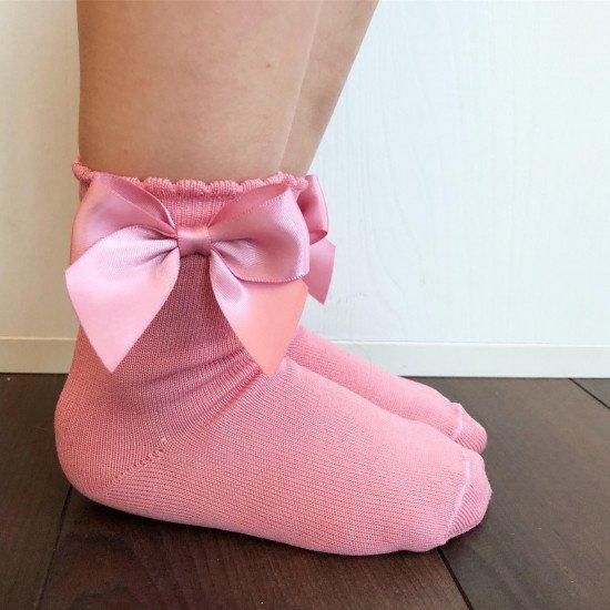 """Детски къси чорапи с панделка за момиче """"Пудра"""""""