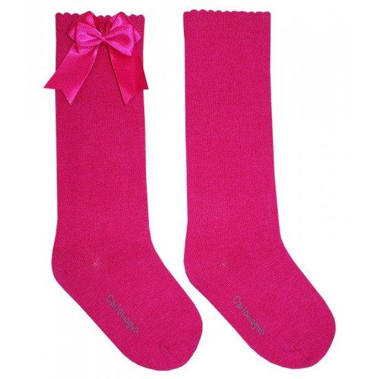 Детски чорапи до коляно в циклама с двойна панделка