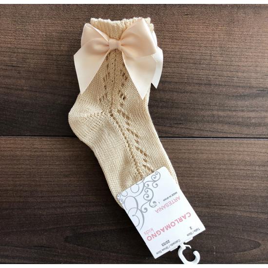 Къси летни чорапи за момиче с панделка в златисто