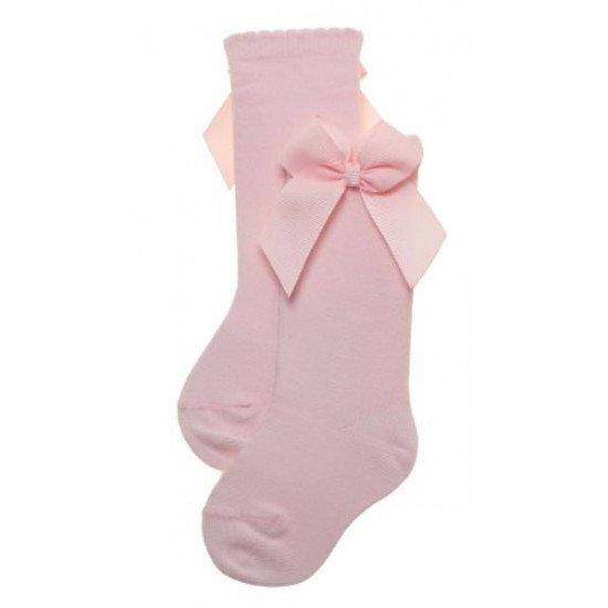 Детски чорапи до коляно с панделка в розово за момиче