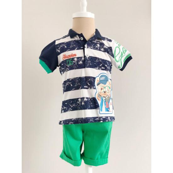 Бебешки комплект за момче от две части - блуза и къси панталони