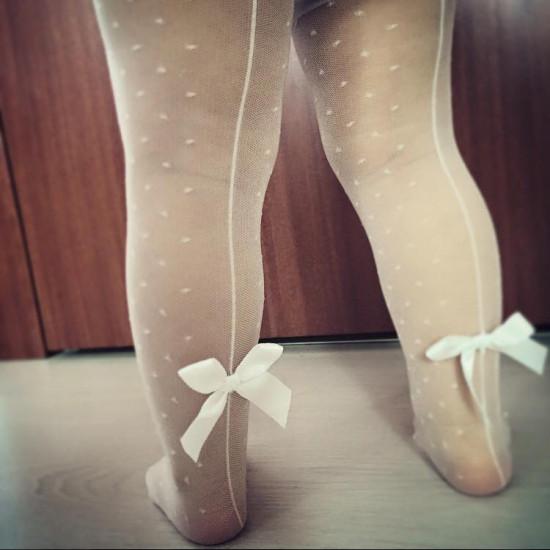 Детски официален чорапогащник с панделки Step