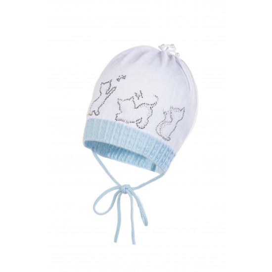 Бебешка шапка от фино плетиво с диамантени котета на Jamiks