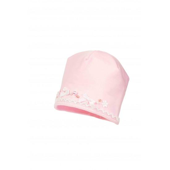 Бебешка памучна шапка с дантела