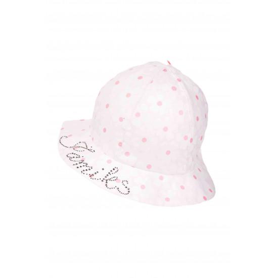 Детска лятна шапка в розово с диаманти за момиче