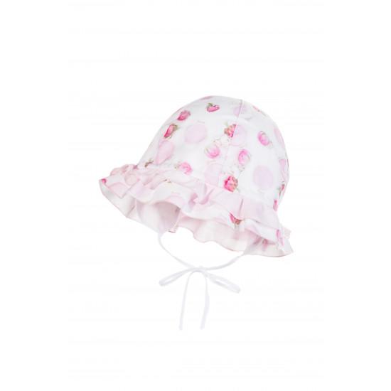 Детска лятна шапка с принт рози и UV защита за момиче