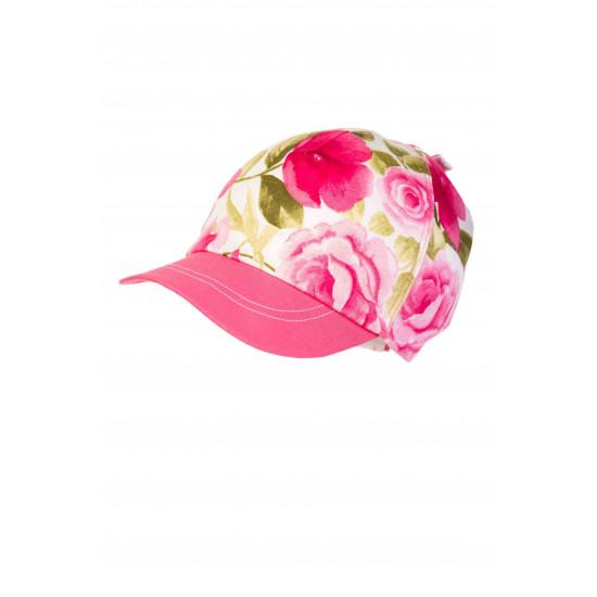 Бебешка лятна шапка с мека козирка в розово за момиче