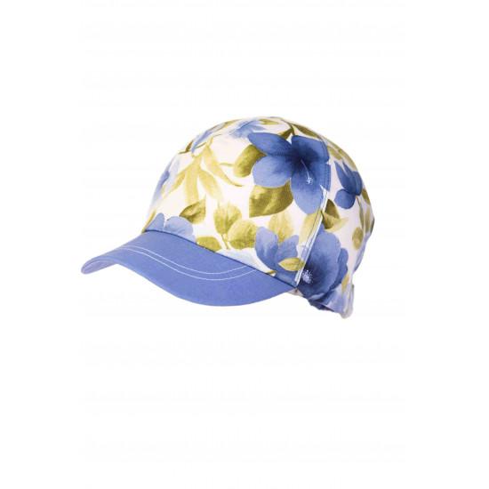 Бебешка лятна шапка с мека козирка в синьо за момиче