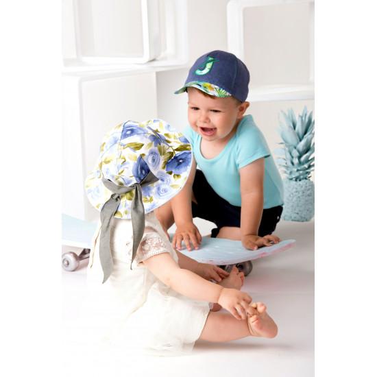 Детска лятна шапка за момиче с цветя и панделка в синьо Jamiks