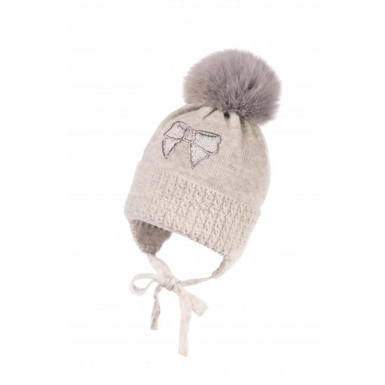 "Бебешка зимна шапка за момиче в сиво ""Панделка"" by Jamiks"