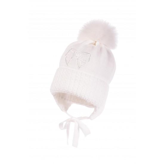 "Бебешка зимна шапка за момиче в бяло ""Панделка"" by Jamiks"