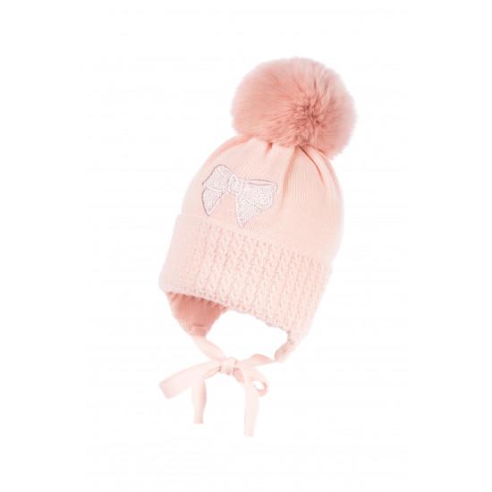 """Бебешка зимна шапка за момиче в розово """"Панделка"""" by Jamiks"""