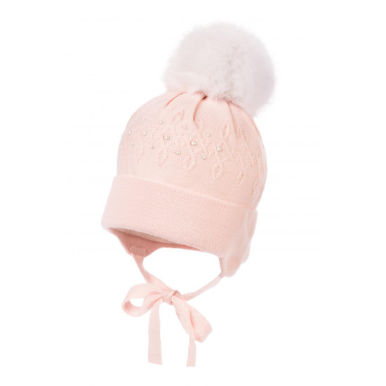 "Бебешка зимна шапка за момиче в розово ""Перли"" Jamiks"