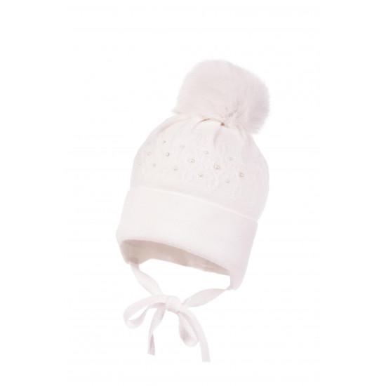 "Бебешка зимна шапка за момиче в бяло ""Перли"" Jamiks"