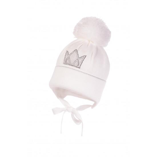 """Бебешка зимна шапка за момиче в бяло """"Корона"""" Jamiks"""