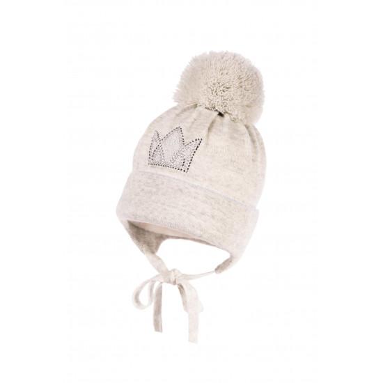 """Бебешка зимна шапка за момиче в сиво """"Корона"""" Jamiks"""