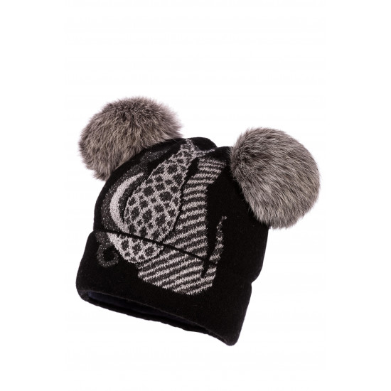 "Зимна детска шапка за момиче с помпони от заек ""Котки"" Jamiks"