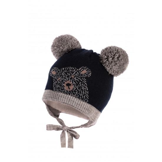 """Бебешка зимна шапка за момче """"Мече""""  Jamiks"""