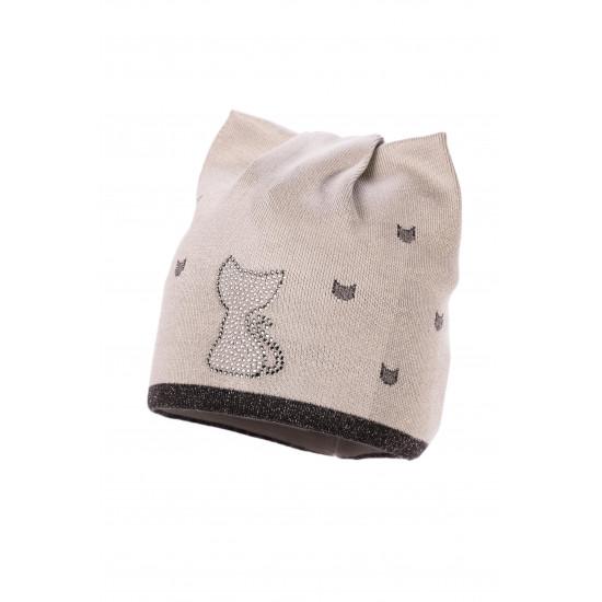 Детска шапка за момиче с апликация коте на Jamiks