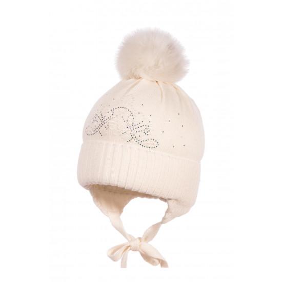Детска зимна шапка в екрю за момиче Jamiks
