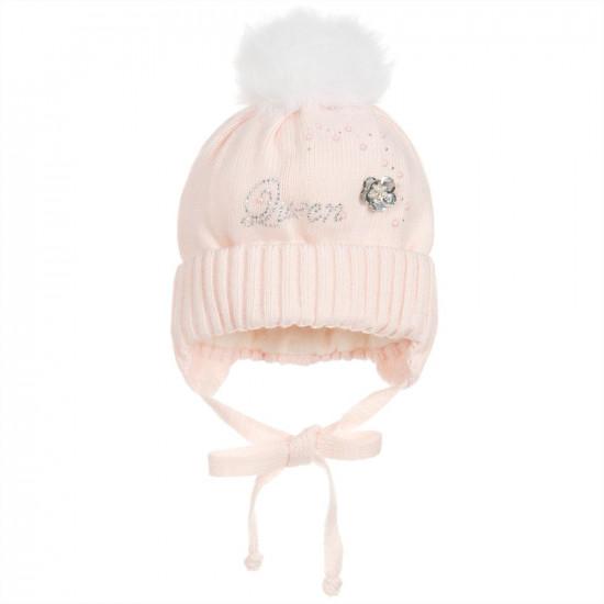 "Бебешка плетена шапка за момиче ""Queen"" by Jamiks"