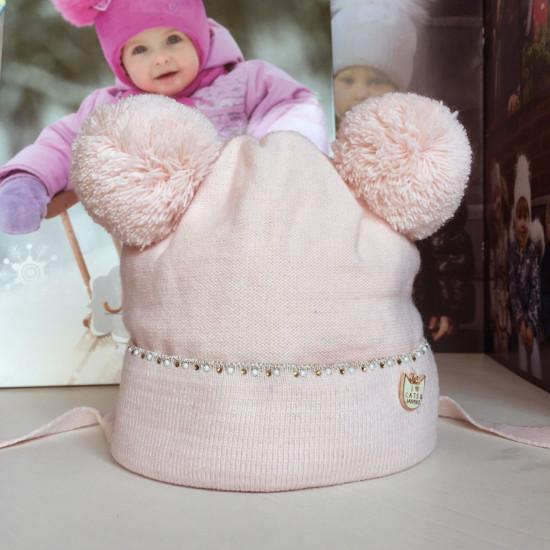 Бебешка зимна плетена шапка за момиче с помпони на Jamiks