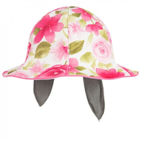 Детска лятна шапка за момиче с цветя и панделка Jamiks