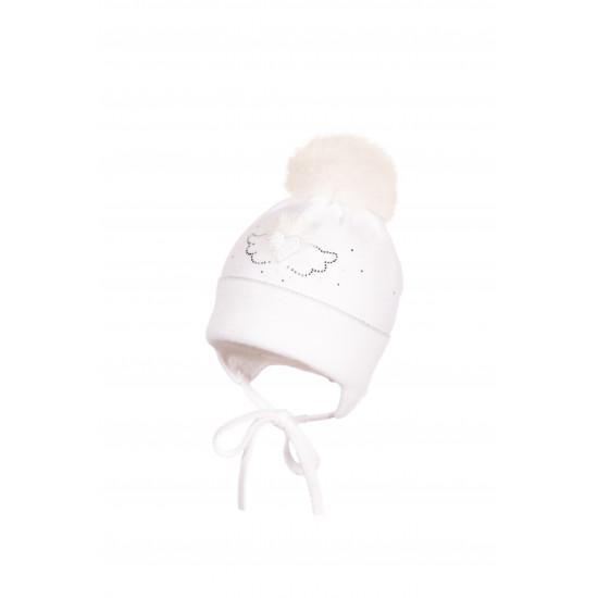 Бебешка плетена шапка за момиче със зайче на Jamiks