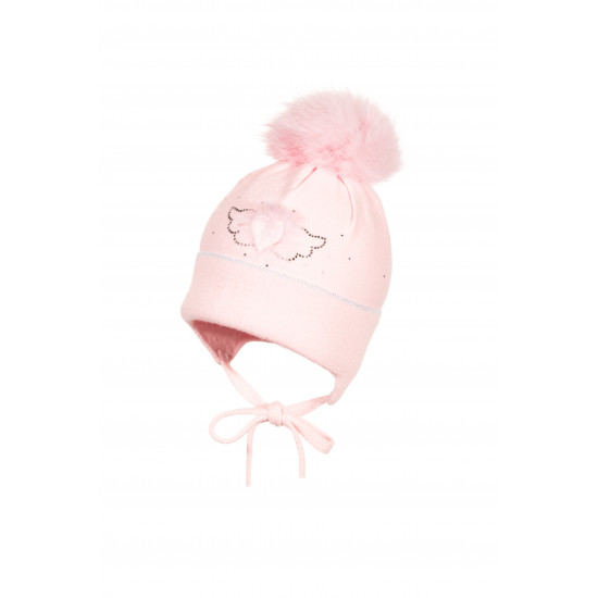 Бебешка плетена розова шапка за момиче със зайче на Jamiks