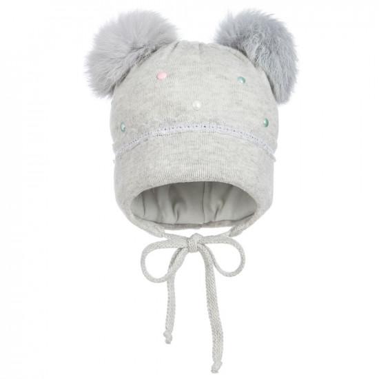 Бебешка зимна плетена шапка с помпони на Jamiks
