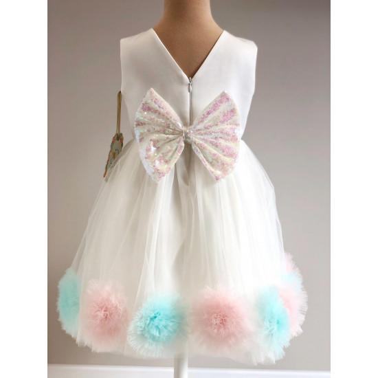 Детска официална рокля с помпони