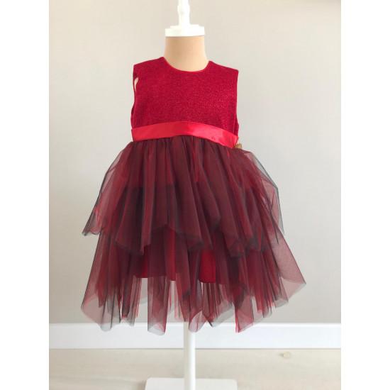 Детска официална рокля в бордо Piccole