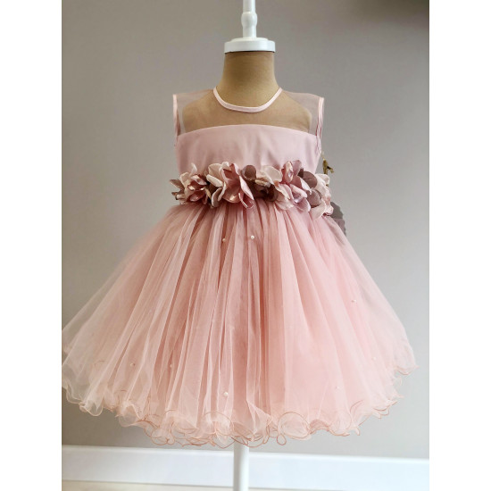 """Детска официална рокля """"Цветя"""" в цвят пудра"""