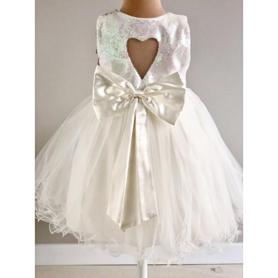 Детска официална рокля в бяло с панделка Piccole