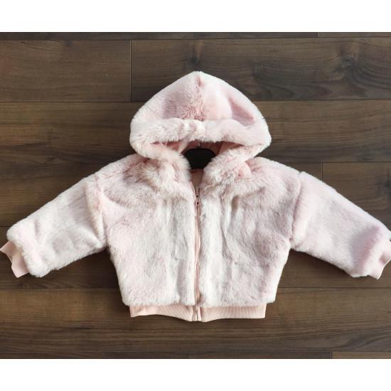 Пухено детско яке за момиче в розово H&H