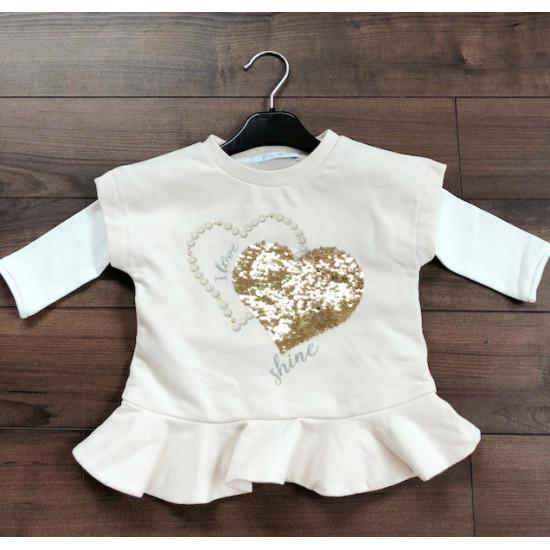 Детска зимна рокля сърце в екрю на Elsy