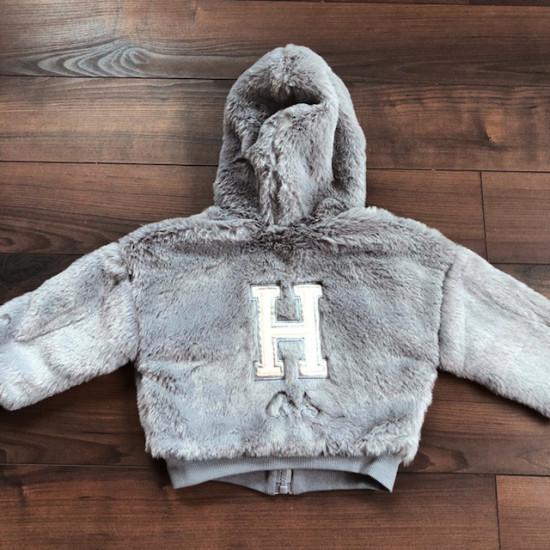 Пухено детско яке за момиче в сиво H&H