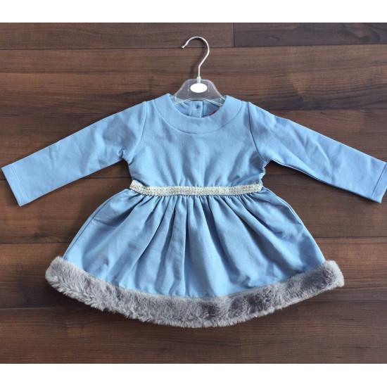 Детска зимна рокля в синьо и диаманти