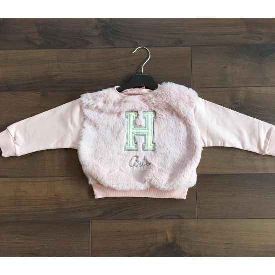 Детска пухена блуза в розово за момиче