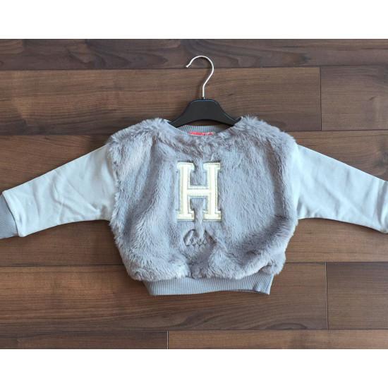 Детска пухена блуза в сиво за момиче H&H