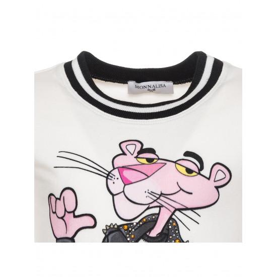 "Детска блуза в бяло ""Pink Panther Rock"""