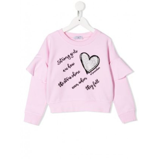 """Детски топ с къдрици в розово"""" Сърце"""""""