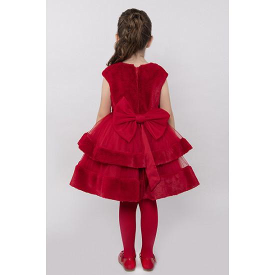 Детска зимна рокля в червено