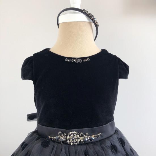 Детска официална рокля в черно кадифе