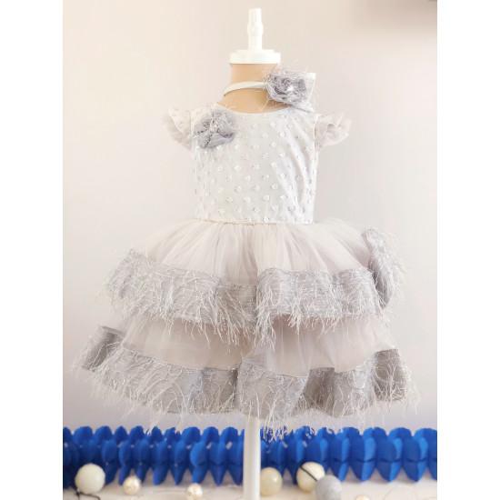 Детска официална рокля в сребристо