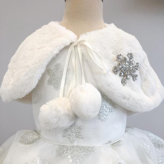 Детска зимна рокля в бяло с болеро