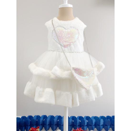 Официална детска рокля в бяло